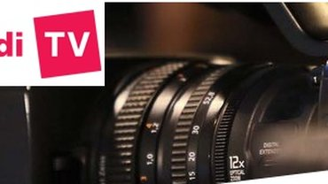 Kameraobjektiv mit Schriftzug ver.di-TV
