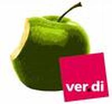 angebissener Apfel + ver.di-Logo