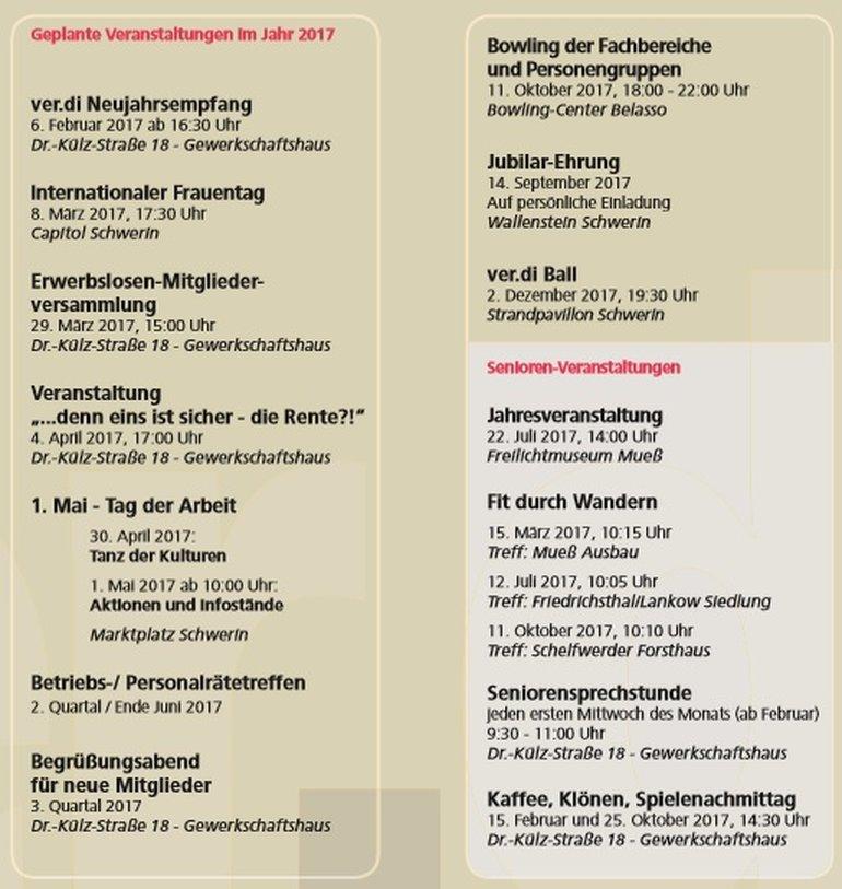 Arbeitsplan 2017 ver.di Schwerin