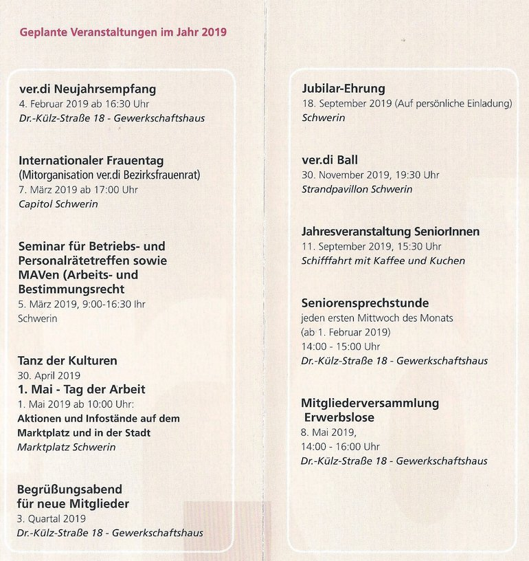 Arbeitsplan 2019 ver.di Schwerin